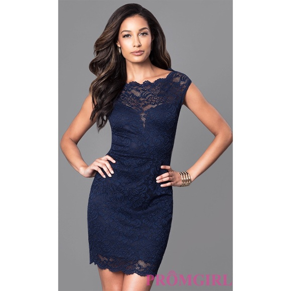 Dresses Semi Formal Lace Navy Blue Dress With Cap Sleeves Poshmark
